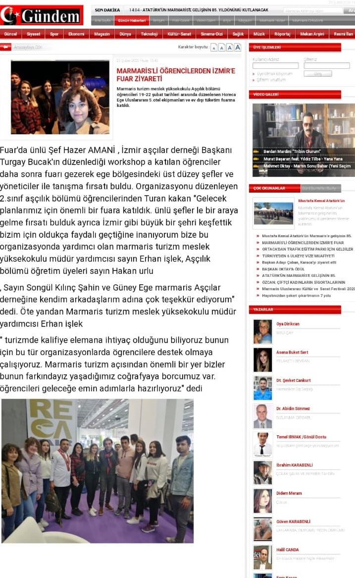 Marmaris Turizm Meslek Yüksekokulu Öğrencilerinden İzmir Fuar Ziyareti