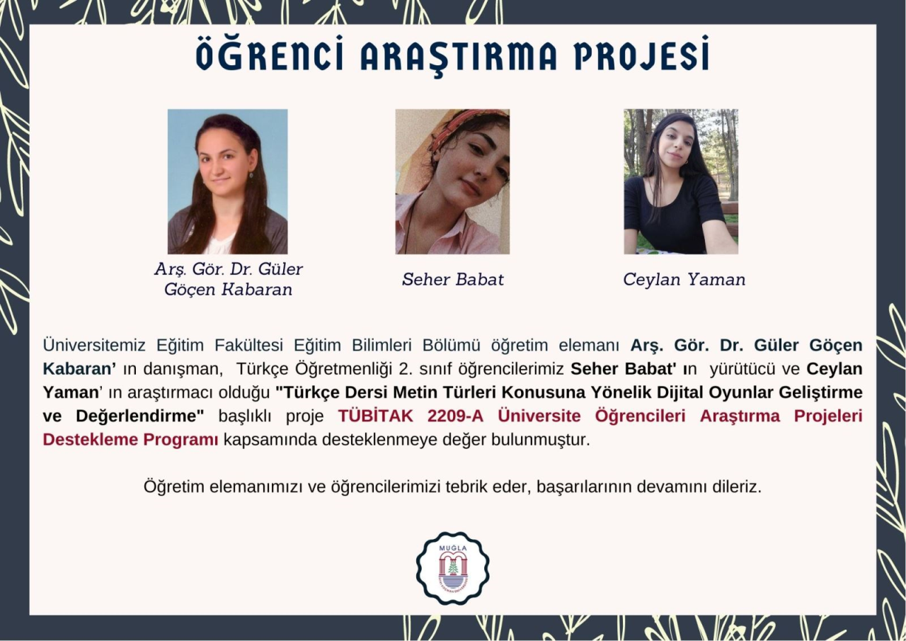 Türkçe Öğretmenliği Programı Öğrencilerimizden TÜBİTAK 2209-A Destekli Proje Başarısı
